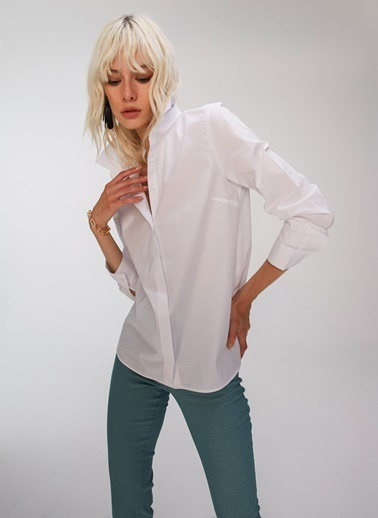 People By Fabrika Basic Gömlek Beyaz